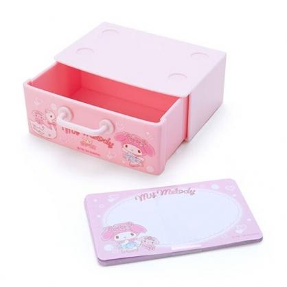 〔小禮堂〕美樂蒂 迷你抽屜盒裝便條紙《粉白》留言紙.名片盒