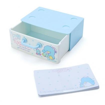 〔小禮堂〕山姆企鵝 迷你抽屜盒裝便條紙《藍白》留言紙.名片盒