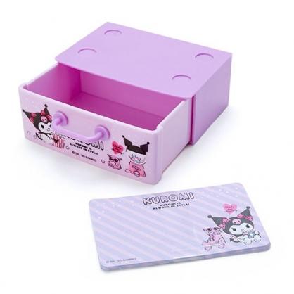 〔小禮堂〕酷洛米 迷你抽屜盒裝便條紙《紫黑》留言紙.名片盒
