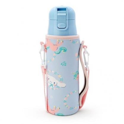 〔小禮堂〕大耳狗 彈蓋不鏽鋼保溫瓶附斜背水壺袋《藍粉.獨角獸》470ml.隨身瓶.水瓶