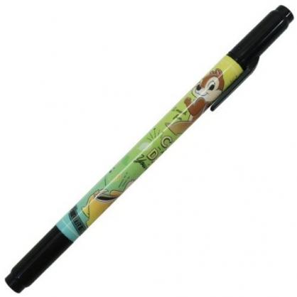 〔小禮堂〕迪士尼 奇奇蒂蒂 日製雙頭油性簽字筆《綠黃.搖屁股》奇異筆.雙頭筆