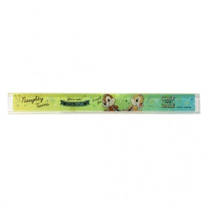 〔小禮堂〕迪士尼 奇奇蒂蒂 日製透明塑膠尺《綠黃.搖屁股》17cm.量尺.直尺.學童文具