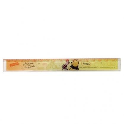 〔小禮堂〕迪士尼 小熊維尼 日製透明塑膠尺《橘黃.對看》17cm.量尺.直尺.學童文具