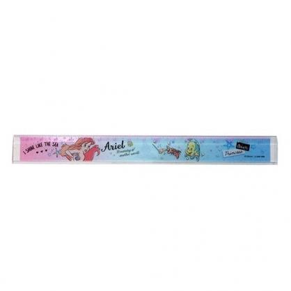 〔小禮堂〕迪士尼 小美人魚 日製透明塑膠尺《粉藍.看城堡》17cm.量尺.直尺.學童文具