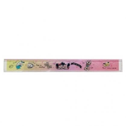 〔小禮堂〕迪士尼 TsumTsum 日製透明塑膠尺《粉黃.愛心》17cm.量尺.直尺.學童文具