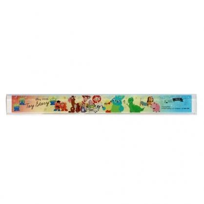 〔小禮堂〕迪士尼 玩具總動員 日製透明塑膠尺《黃綠.角色》17cm.量尺.直尺.學童文具