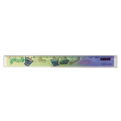 〔小禮堂〕迪士尼 三眼怪 日製透明塑膠尺《綠藍.舉雙手》17cm.量尺.直尺.學童文具