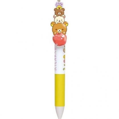 〔小禮堂〕懶懶熊 拉拉熊 日製造型筆夾多色原子筆《黃紫.水果》0.5mm.三色筆.自動筆