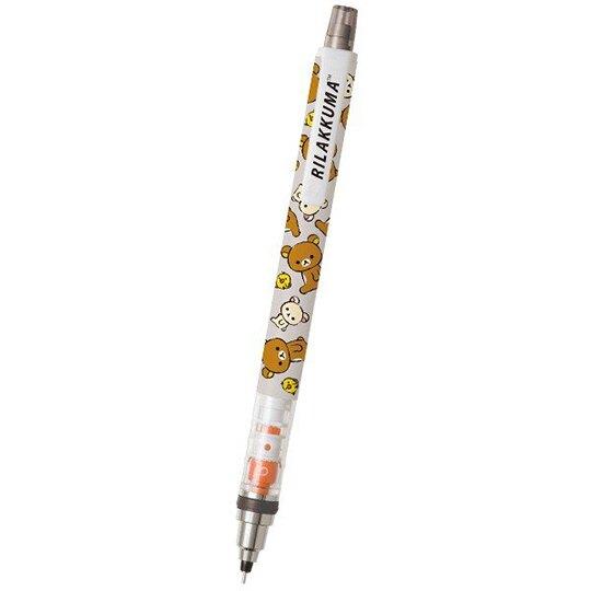 〔小禮堂〕懶懶熊 拉拉熊 旋轉筆芯自動鉛筆《黑灰.滿版》0.5mm.自動筆.KURUTOGA系列