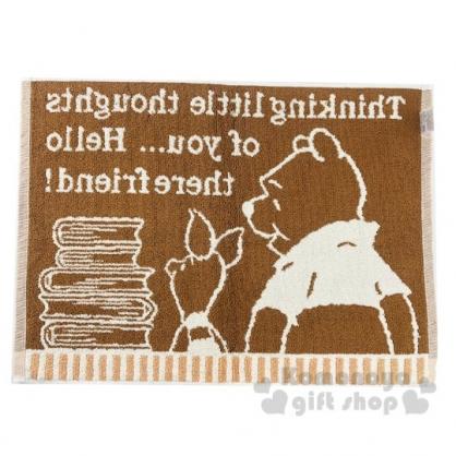 〔小禮堂〕迪士尼 小熊維尼 毛巾腳踏墊《米棕.書本》45x60cm.浴墊.地墊