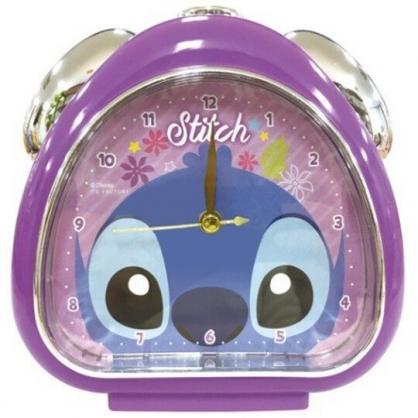 〔小禮堂〕迪士尼 史迪奇 三角形鬧鐘《紫藍.大臉》桌鐘.時鐘