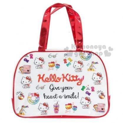 〔小禮堂〕Hello Kitty 防水海灘袋波士頓包《紅白.插圖》透明游泳袋.2020夏日特輯