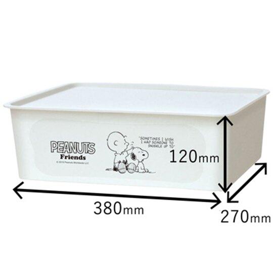 〔小禮堂〕史努比 日製方形塑膠無把拿蓋收納箱《M.淡藍.貓咪》9L.置物箱.玩具箱