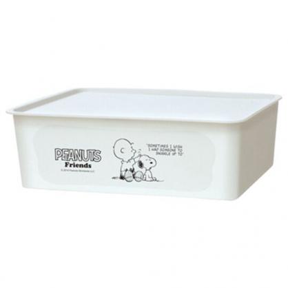 〔小禮堂〕史努比 日製方形塑膠無把拿蓋收納箱《M.白.摸頭》9L.置物箱.玩具箱