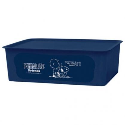 〔小禮堂〕史努比 日製方形塑膠無把拿蓋收納箱《M.深藍.摸頭》9L.置物箱.玩具箱