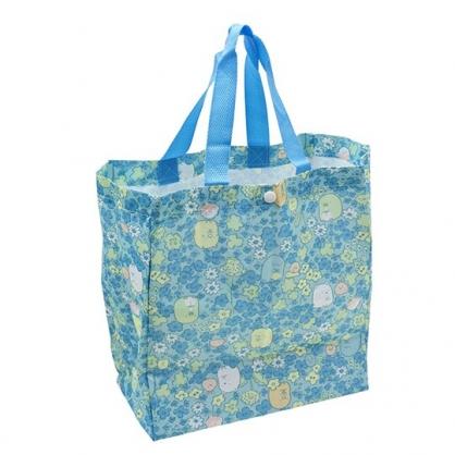〔小禮堂〕角落生物 折疊尼龍環保購物袋《綠.花朵滿版》手提袋.環保袋