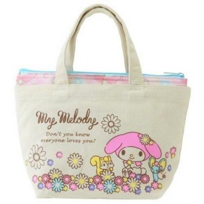 〔小禮堂〕美樂蒂 可拆式帆布保冷手提便當袋《米粉.花朵》野餐袋.保冷袋
