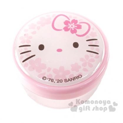 〔小禮堂〕Hello Kitty 圓形透明塑膠乳液罐《粉.大臉櫻花》30g.分裝瓶罐.空盒