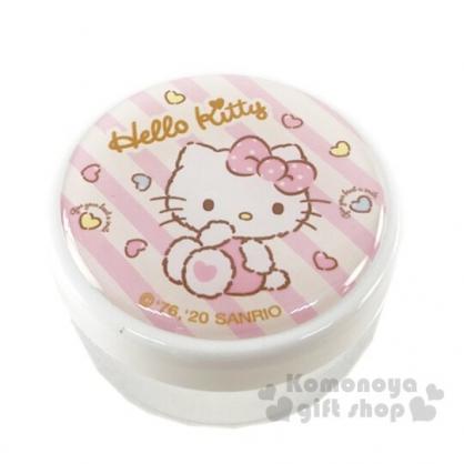 〔小禮堂〕Hello Kitty 圓形透明塑膠乳液罐《粉.愛心斜紋》30g.分裝瓶罐.空盒