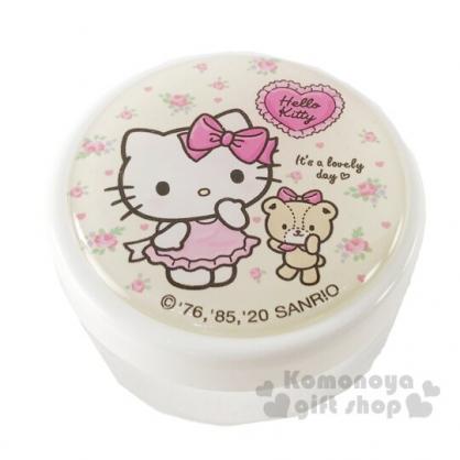 〔小禮堂〕Hello Kitty 圓形透明塑膠乳液罐《米.花朵小熊》30g.分裝瓶罐.空盒