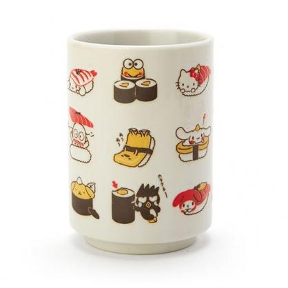 〔小禮堂﹞Sanrio大集合 日製無把陶瓷茶杯《白.壽司》270ml.水杯