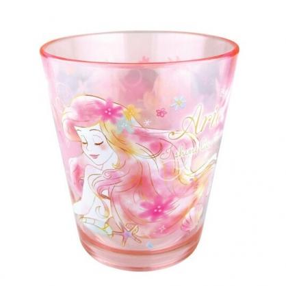 〔小禮堂〕迪士尼 小美人魚 點點紋無把透明塑膠小水杯《粉.閉眼》270ml.漱口杯.塑膠杯