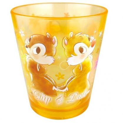 〔小禮堂〕迪士尼 奇奇蒂蒂 點點紋無把透明塑膠小水杯《橘.背對背》270ml.漱口杯.塑膠杯