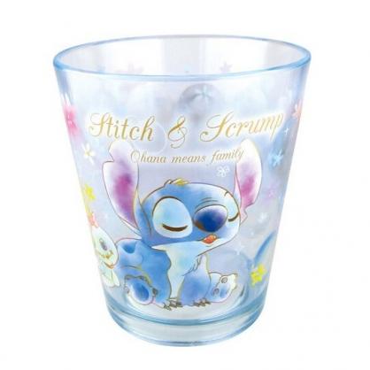 〔小禮堂〕迪士尼 史迪奇 點點紋無把透明塑膠小水杯《藍.閉眼》270ml.漱口杯.塑膠杯