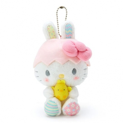 〔小禮堂〕Hello Kitty 絨毛玩偶娃娃吊飾《粉白》掛飾.鑰匙圈.2020復活節系列