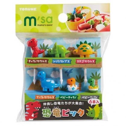 〔小禮堂〕日本TORUNE 恐龍造型塑膠食物裝飾叉組《6入.綠紅》甜點叉.水果叉