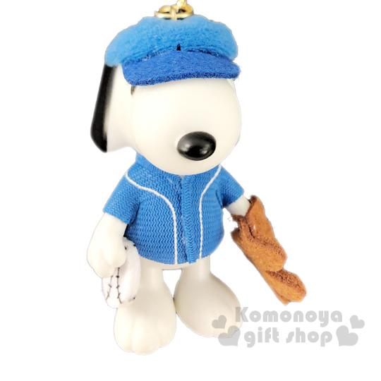 〔小禮堂〕史努比 全身造型塑膠鑰匙圈《藍白.棒球服》掛飾.吊飾.鎖圈