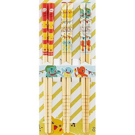 〔小禮堂〕神奇寶貝Pokemon皮卡丘 天然木筷子組《3入.綠.斜紋》16.5cm.竹筷.環保筷.環保餐具