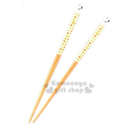 〔小禮堂〕史努比 日製立體造型天然木筷子《棕綠.坐姿》16.5cm.竹筷.環保筷.環保餐具