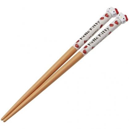〔小禮堂〕Hello Kitty 日製立體造型天然木筷子《棕紅.大臉》16.5cm.竹筷.環保筷.環保餐具