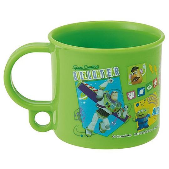 〔小禮堂〕迪士尼 玩具總動員 日製單耳塑膠小水杯《綠.格圖》200ml.漱口杯.塑膠杯