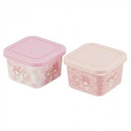 〔小禮堂〕美樂蒂 日製迷你方形保鮮盒組《2入.粉.花朵》180ml.便當盒.食物盒