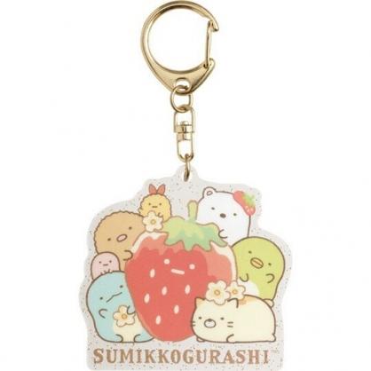 〔小禮堂〕角落生物 造型透明壓克力鑰匙圈《紅綠.抱草莓》掛飾.吊飾