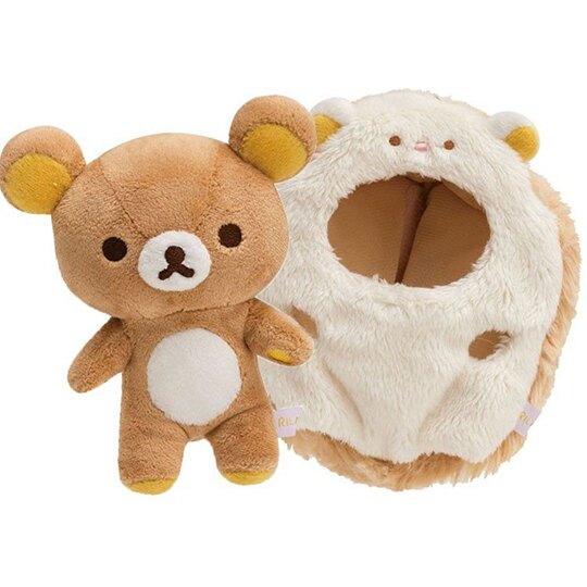 〔小禮堂〕懶懶熊 拉拉熊 絨毛玩偶娃娃吊飾《棕.刺蝟裝》掛飾.鑰匙圈