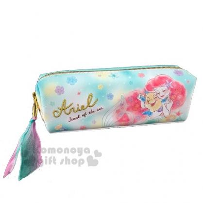 〔小禮堂〕迪士尼 小美人魚 皮質拉鍊筆袋《綠粉.牽手》化妝包.收納包.鉛筆盒