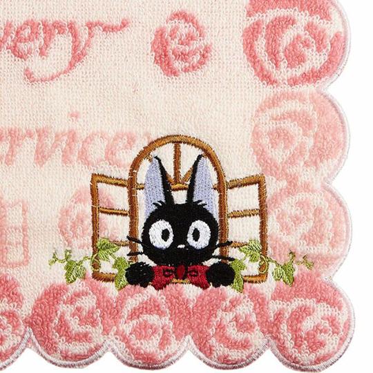 〔小禮堂〕宮崎駿 魔女宅急便 造型純棉無捻紗小方巾《粉.玫瑰邊》25x25cm.手帕
