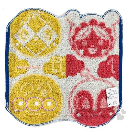 〔小禮堂〕麵包超人 造型純棉無捻紗小方巾《紅黃.角色大臉》25x25cm.手帕