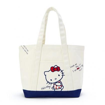 〔小禮堂〕Hello Kitty 橫式帆布手提袋側背袋《米.藍底》購物袋.肩背袋