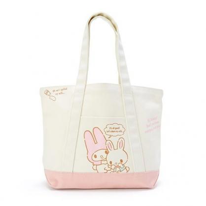 〔小禮堂〕美樂蒂 橫式帆布手提袋側背袋《米.粉底》購物袋.肩背袋