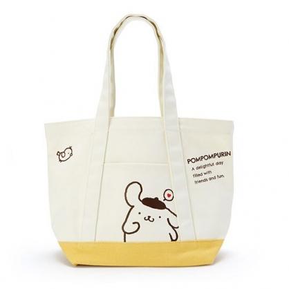 〔小禮堂〕布丁狗 橫式帆布手提袋側背袋《米.黃底》購物袋.肩背袋