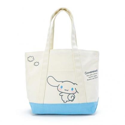 〔小禮堂〕大耳狗 橫式帆布手提袋側背袋《米.藍底》購物袋.肩背袋