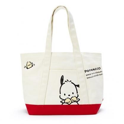 〔小禮堂〕帕恰狗 橫式帆布手提袋側背袋《米.紅底》購物袋.肩背袋