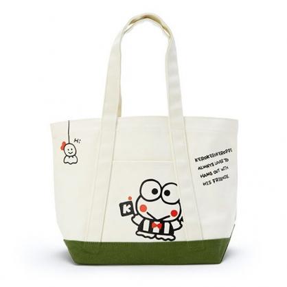〔小禮堂〕大眼蛙 橫式帆布手提袋側背袋《米.綠底》購物袋.肩背袋