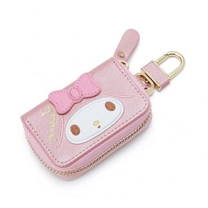 〔小禮堂〕美樂蒂 皮質拉鍊鑰匙包《粉白.大臉》掛飾.收納包.遙控包