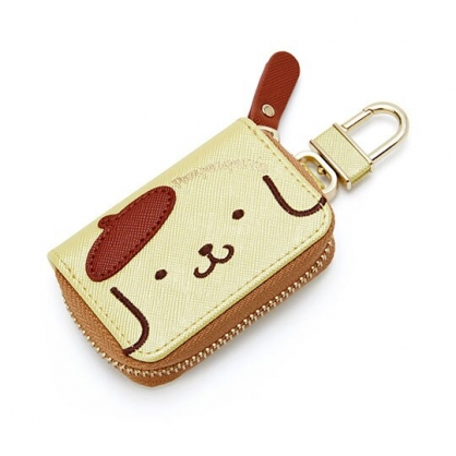 〔小禮堂〕布丁狗 皮質拉鍊鑰匙包《黃棕.大臉》掛飾.收納包.遙控包