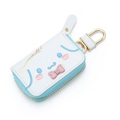 〔小禮堂〕大耳狗 皮質拉鍊鑰匙包《藍白.大臉》掛飾.收納包.遙控包